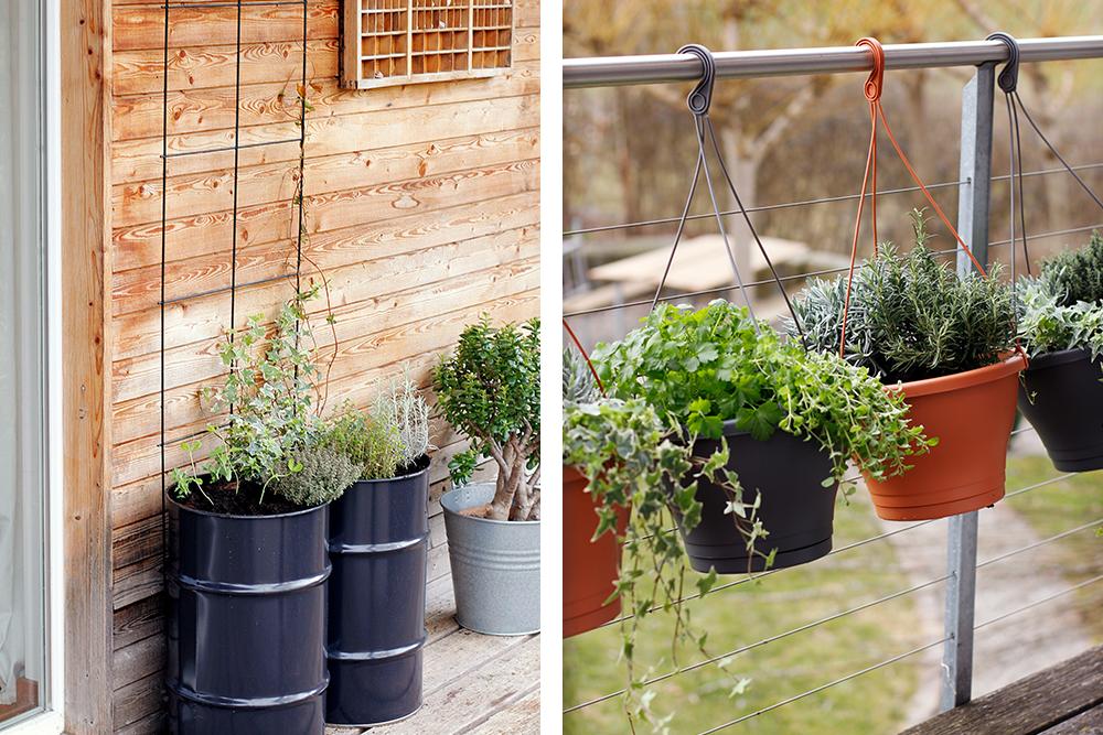 id es pour un jardin d herbes aromatiques sur un petit balcon. Black Bedroom Furniture Sets. Home Design Ideas